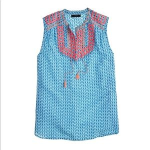 J. Crew Embroidered Tassel Sleeveless Top Blue 2